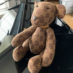 Gucci Brown and Gold Monogram Bear